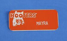 HOOTERS RESTAURANT GIRL MAYRA ORANGE NAME TAG / PIN -  Waitress Pin