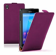 Ultra Slim PURPLE Leather Flip Case Cover Pouch For Sony Xperia M4 Aqua experia
