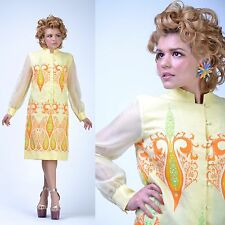 VTG 60s Yellow Alfred SHAHEEN Psychedelic PAISLEY Party Cocktail Wedding DRESS M