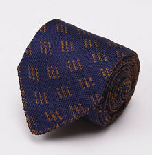NWT $195 LUCIANO BARBERA Knit Silk Tie Navy-Brown Jacquard Pattern Slim 2.5""