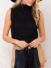 Minkpink Black By The Fire Crop Sleeveless Polo Knit Top New   M L