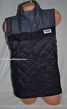 Victoria's Secret Pink Colorblock Quilted Vest Black Gray Logo Jacket Full Zip S
