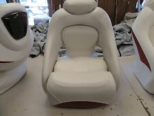 CROWNLINE JET DRIVER SEAT W / FLIP UP BOLSTER VINYL OFF WHITE / RED MARINE BOAT