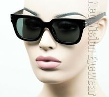 Large Square Horn Rim Sunglasses Vintage Style G15 Green Glass Black MP23