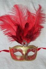 RED & GOLD FEATHER MASK VENETIAN MASQUERADE BALL CARNIVAL PARTY EYE MASK