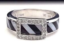 14k White Gold LeVian® Diamond, Onyx and Mother of Pearl Buckle Style Ring
