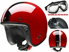 CASCO MOTO JET GIVI 20.7 OLDSTER FIBRA VINTAGE CAFE RACER CUSTOM RED BLACK TG XL