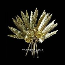 3 pcs Thai Lanna Dance Gold Costume Jewelry Floral Leaves Hairpin Wedding Prom