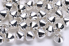 25 SILVER PLATED DOUBLE CONE BICONE BEADS 4MM