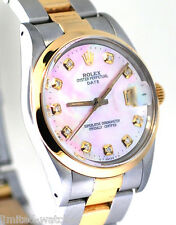Rolex Date Watch In Two Tone, 34mm ,With Pink Pearl Diamond Dial & Gold Bezel