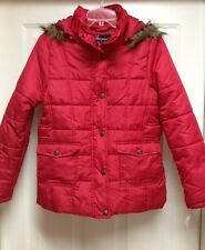 Dollhouse Girl's Red Puffer Coat / Jacket w/ Faux Fur Trimmed Hood (Size M)