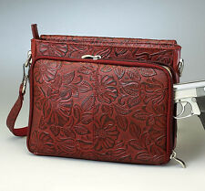CONCEALED CARRY GUN TOTE'N MAMAS TOOLED LEATHER PURSE HANDBAG CCW - CHERRY