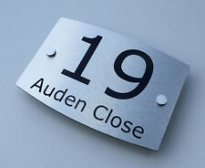 MODERN HOUSE SIGN PLAQUE DOOR NUMBER STREET METAL NAME SHINEY ALUMINIUM