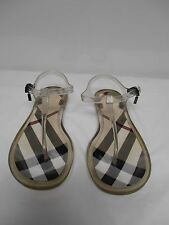 Burberry Sandals T Strap Flat Thong Jelly  clear w/plaid footbed 37 7