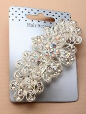 NEW Vintage crystal flower barrette clip winter wedding hair accessory diamante