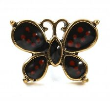Small Antique Gold & Red & Black Painted Butterfly Pin Brooch