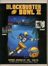 1991 Blockbuster Bowl Game Program Alabama Colorado
