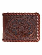 Nocona Mens Western Wallet Bi-fold Tooled and Laced/Brown Leather