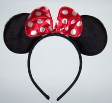 MINNIE MOUSE EARS Red Bow HEADBAND Children Adults Halloween costume