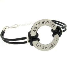 GPS Coordinate Leather Bracelet for Men. Personalized Mens Wristband.Washer Cuff