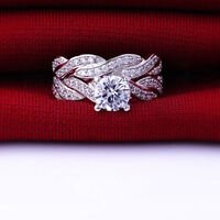 Womens Lady Gemstone CZ Wedding Engagement Ring Set Band Rings Size 6-9 Jewelry