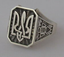 Mens St.Silver Ring with Ukrainian Trident Tryzub,Right Sector,Oxidized,Size 11