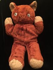 Antique Vintage Stuffed Plush Cinnamon Brown Teddy Bear Googly Eyes Needs TLC