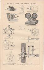 Elektrische Klingeln Läutwerke Uhren HOLZSTICH von 1883 Eisenbahnuhr