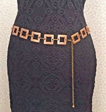NEW Vintage style Gold Squares Lightweight Chain Belt Retro 70's Jeans