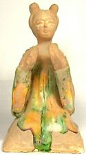 800AD Ancient Medieval Tang China Glazed Sancai Ceramic Female Cymbal Musician