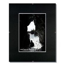 Set of 10 - 11x14 Glass & Clip Frames, Single Black Mats for 8x10