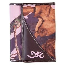 BROWNING BROWN LEATHER FRENCH WALLET - MOSSY OAK PINK CAMO - LADIES, WOMENS