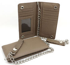 Bifold Light Brown Genuine Leather Checkbook Holder Snap Button Wallet w/ Chain