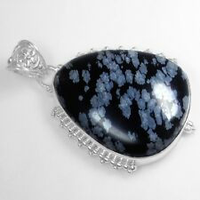15.70 Gram 925 Sterling Pure Silver Natural Top Black Obsidian Pendant Jewelry $