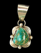 Sterling and Dark Green Turquoise Pendant - Navajo Handmade
