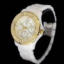 White Geneva Acrylic Gold Finish Icy Bling Cubic Bezel Womens Bracelet Watch