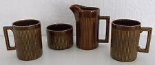 VINTAGE ELLGREAVE ENGLAND TIKO RIBBED COFFEE CUPS MILK JUG & SUGAR BOWL