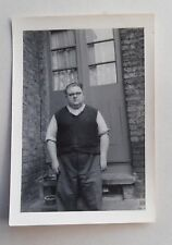 c1955 B/W Photograph. Portrait of a Very Fat Man in Back Yard. French Windows