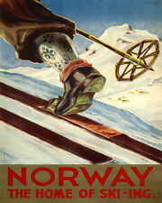 """NORWAY THE HOME OF SKI SKIING SPORT 8"""" X 10"""" VINTAGE POSTER REPRO FREE SHIPPING"""