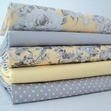 FQ Bundle - Paris Toile Yellow & Grey x 5  - 100% Cotton Fabric Fat Quarter
