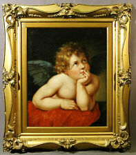 Master European 18th Century Oil Painting Guilt Frame of Winged Cupid Thinking