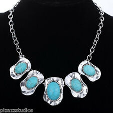 """Turquoise  Chunky Necklace 18""""-20.5"""" Blue Silver Bib Metal Stone Statement"""