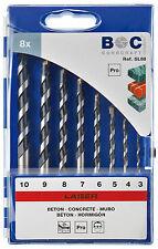 Steinbohrersatz 3, 4, 5, 6, 7, 8, 9, 10mm mit Rundschaft , Profi , Steinbohrer