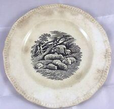 Antique Copeland Spode Porcelain Sephia Black Transfer Sheep Lamb Plate