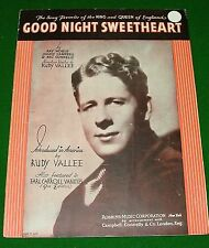 1931 Sheet Music: GOOD NIGHT SWEETHEART, Rudy Vallee on the Cover