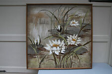 "LEE REYNOLDS MID-CENTURY OIL PAINTING- LILIES IN POND- WONDERFUL -41"" x 41"" x 3"""