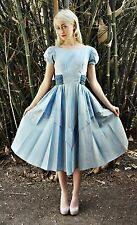 WONDERFUL Vintage 40s Powder Blue Taffeta Velvet PARTY Dress + Bow XS/S