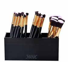 Black Acrylic Makeup Brush Holder Organizer Box 3 Slot Cosmetics Brushes Storage