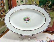 "ANTIQUE ALFRED MEAKIN ENGLAND BLUE URN WITH ROSES & GRAPES 16 1/2"" OVAL PLATTER"