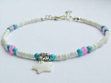 shell star charm white turquoise pink tiny bead anklet ankle chain beach boho